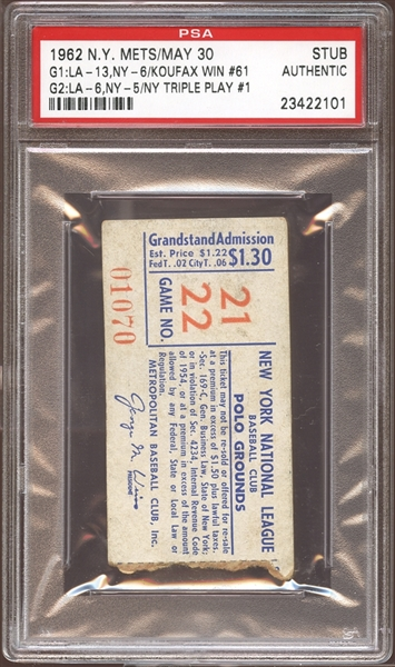 1962 New York Mets Ticket Stub Mets First Triple Play PSA AUTHENTIC