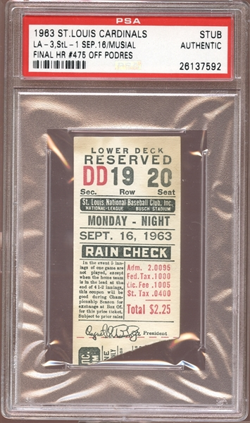 1963 St. Louis Cardinals Ticket Stub Stan Musial Last Home Run PSA AUTHENTIC