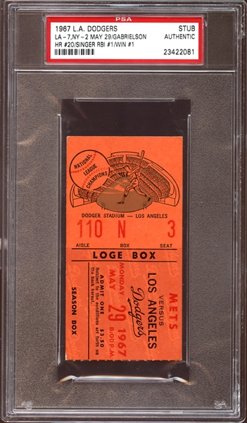 1967 Los Angeles Dodgers Ticket Stub Bill Singer First RBI and Win PSA AUTHENTIC