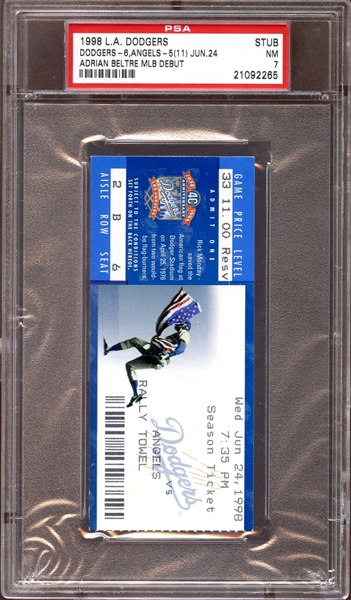 1998 Los Angeles Dodgers Ticket Stub Adrian Beltre MLB Debut PSA NM 7