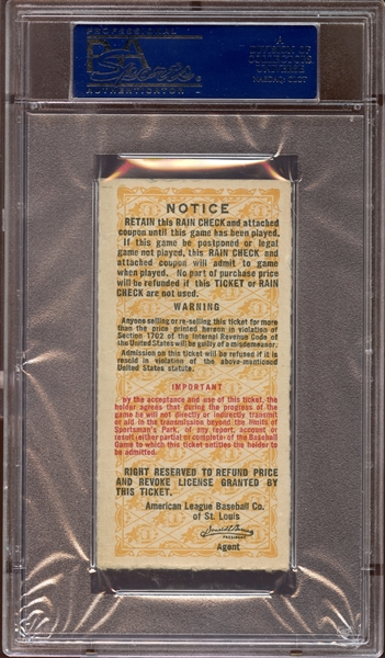 1944 World Series Game 4 Ticket Stub Stan Musial Home Run PSA AUTHENTIC