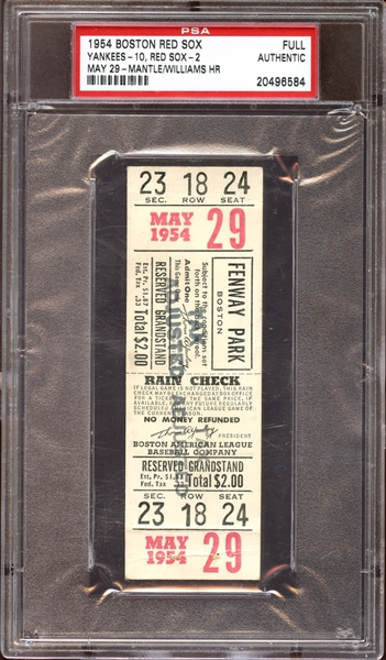 1954 Boston Red Sox/New York Yankees Full Ticket Mantle/Williams Home Runs PSA AUTHENTIC