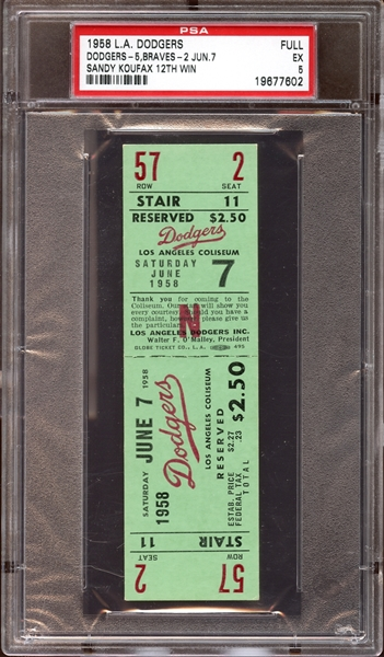 1958 Los Angeles Dodgers Full Ticket Sandy Koufax 12th Win PSA 5 EX