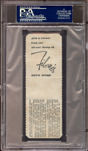 1967 Boston Red Sox Full Ticket Yaz Home Run #44 Wins Triple Crown PSA AUTHENTIC