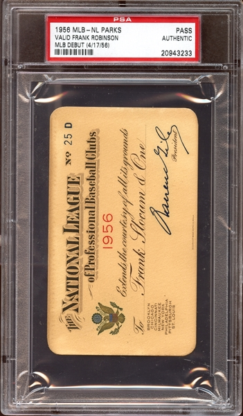 1956 MLB National League Parks Pass PSA AUTHENTIC