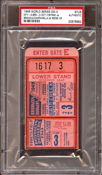 1949 World Series Game 3 Ticket Stub Campanella/Reese Home Runs PSA AUTHENTIC