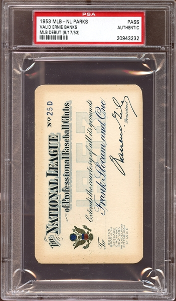 1953 MLB National League Parks Pass PSA AUTHENTIC