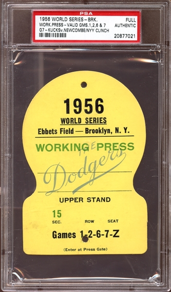 1956 World Series Brooklyn Dodgers Full Working Press Pass PSA AUTHENTIC
