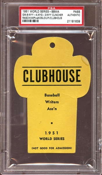1951 World Series BBWA Clubhouse Pass PSA AUTHENTIC