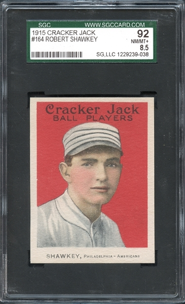 1915 Cracker Jack #164 Robert Shawkey SGC 92 NM-MT 8.5
