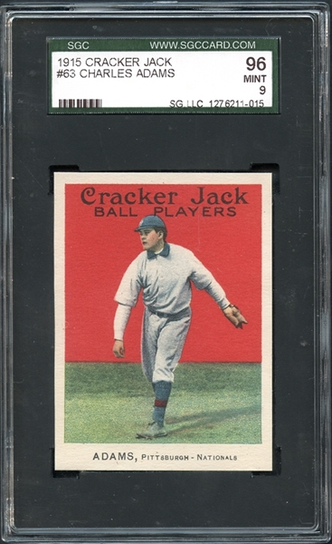 1915 Cracker Jack #63 Charles Adams SGC 96 MINT 9