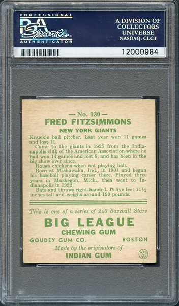 1933 Goudey #130 Fred Fitzsimmons PSA 8 NM-MT