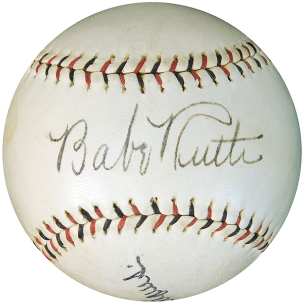 Spectacular Babe Ruth Single Signed Pacific Coast League Ball PSA/DNA Graded NM/MT 8