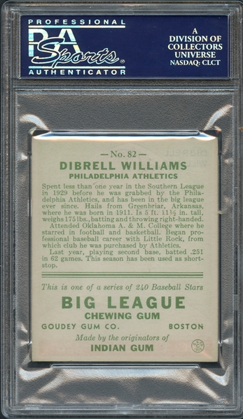 1933 Goudey #82 Dibrell Williams PSA 8 NM-MT