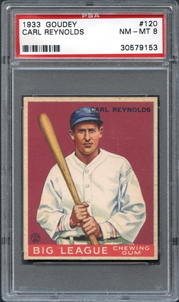 1933 Goudey #120 Carl Reynolds PSA 8 NM-MT