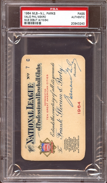 1964 MLB National League Parks Pass PSA AUTHENTIC