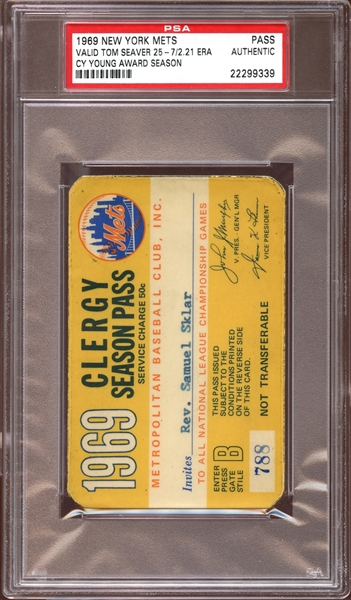 1969 New York Mets Clergy Season Pass PSA AUTHENTIC