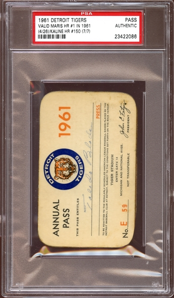 1961 Detroit Tigers Season Pass PSA AUTHENTIC