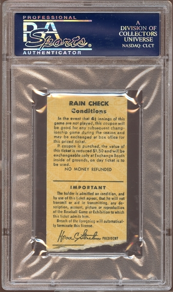1963 San Francisco Giants Ticket Stub Willie Mays Home Run #402 PSA AUTHENTIC