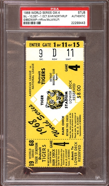 1968 World Series Game 4 Ticket Stub PSA AUTHENTIC