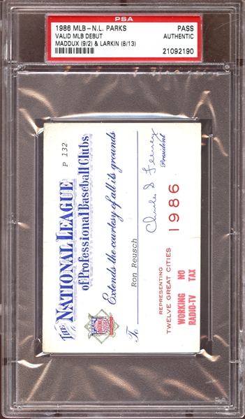 1988 MLB National League Parks Pass PSA AUTHENTIC
