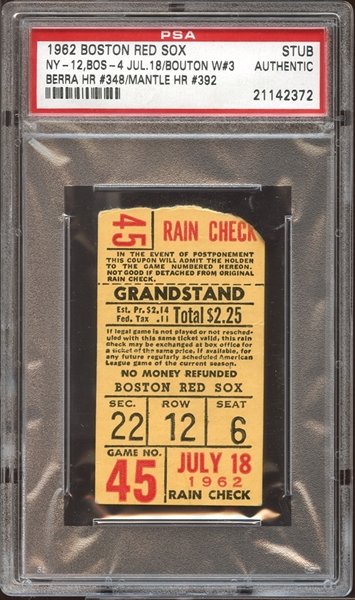 1962 Boston Red Sox Ticket Stub Berra (348) and Mantle (392) Home Runs PSA AUTHENTIC