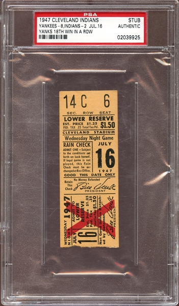 1947 Cleveland Indians/New York Yankees Ticket Stub Yankees 18th Consecutive Win PSA AUTHENTIC