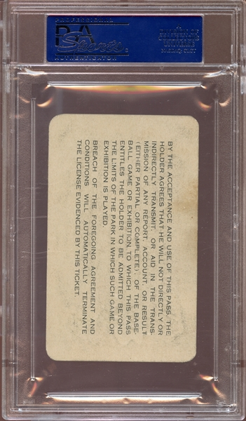 1945 MLB National League Parks Pass PSA 8 NM/MT