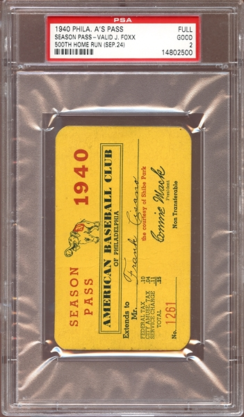 1940 Philadelphia Athletics Season Pass PSA 2 GOOD