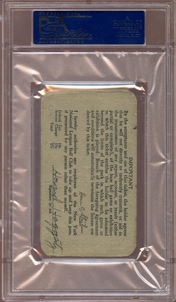 1938 New York Giants Polo Grounds Season Pass PSA AUTHENTIC