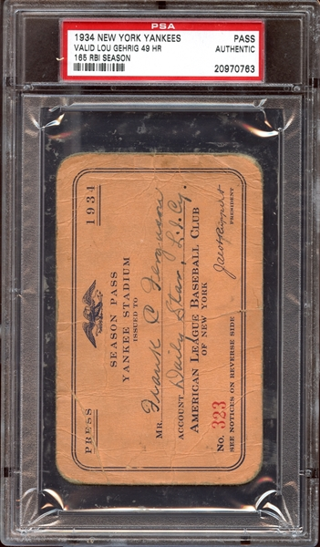 1934 New York Yankees Season Pass PSA AUTHENTIC