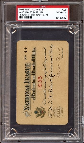 1935 MLB National League Parks Pass Signed by Ford Frick PSA AUTHENTIC/JSA