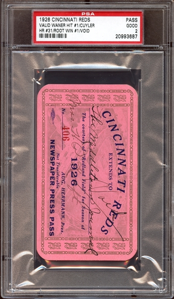 1926 Cincinnati Reds Press Pass PSA AUTHENTIC