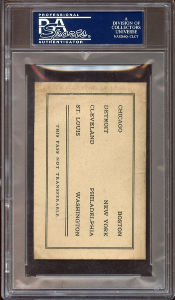 1927 MLB American League Parks Pass PSA 2 GOOD