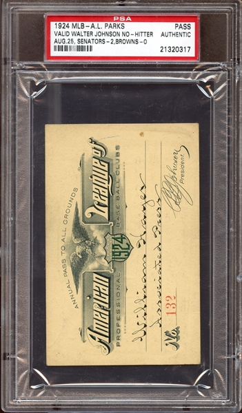 1924 MLB American League Parks Pass PSA AUTHENTIC