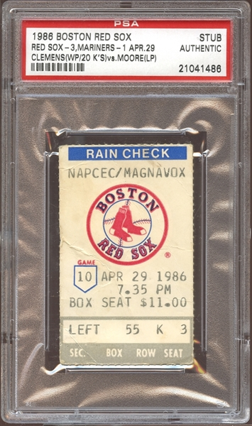 1986 Boston Red Sox Ticket Stub Clemens 20 Strikeouts PSA AUTHENTIC