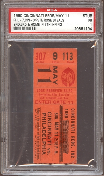1980 Cincinnati Reds Ticket Stub Pete Rose Steals Second, Third and Home in 7th Inning PSA AUTHENTIC