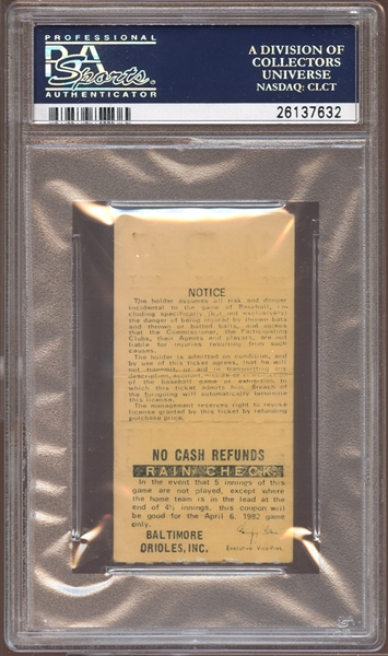 1982 Baltimore Orioles Ticket Stub Cal Ripken Jr. First Home Run Yellow Variation PSA AUTHENTIC