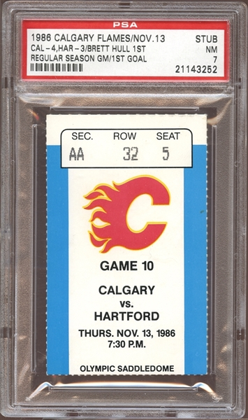 1986 Calgary Flames Ticket Stub Brett Hull First Game and First Goal PSA 7 NM