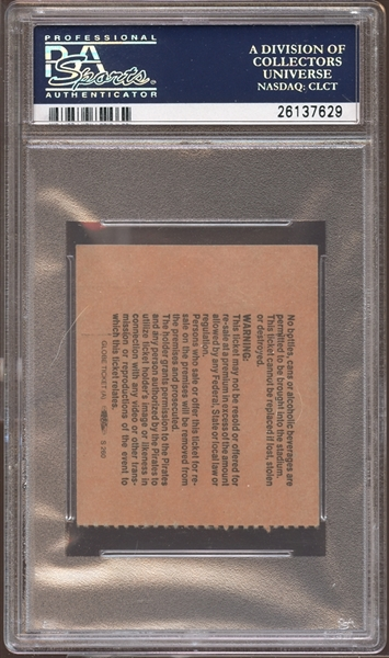 1987 Pittsburgh Pirates Ticket Stub Mike Schmidt 500th Home Run PSA AUTHENTIC