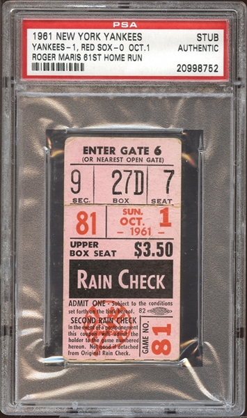 1961 New York Yankees Ticket Stub Roger Maris 61st Home Run PSA AUTHENTIC