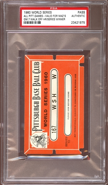 1960 Pittsburgh Pirates World Series Press Pass PSA AUTHENTIC
