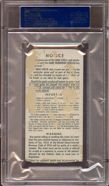 1960 World Series Game 7 Ticket Stub Mazeroski Walk-Off Home Run PSA AUTHENTIC