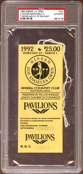 1992 Nissan L.A. Open Full Ticket Tiger Woods 1st PGA Event PSA AUTHENTIC