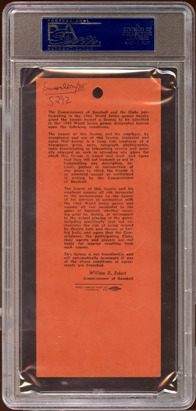 1968 World Series Tigers Stadium BBWAA Press Pass PSA 3 VG (MK)