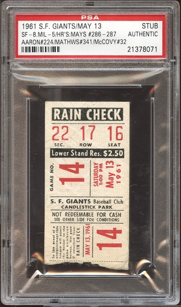 1961 San Francisco Giants Ticket Stub Mays (2), Aaron, Mathews and McCovey Home Runs PSA AUTHENTIC