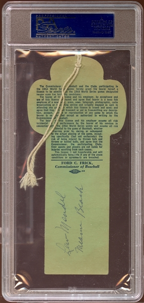 1964 World Series New York Clubhouse Press Pass PSA AUTHENTIC