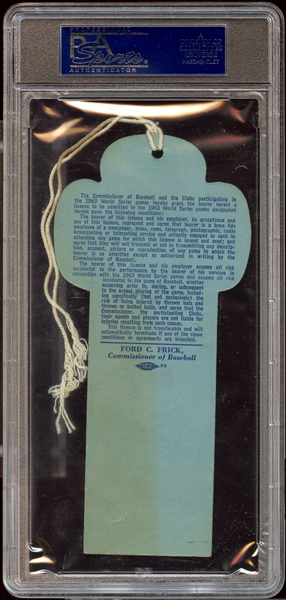 1963 World Series New York Clubhouse Press Pass PSA AUTHENTIC
