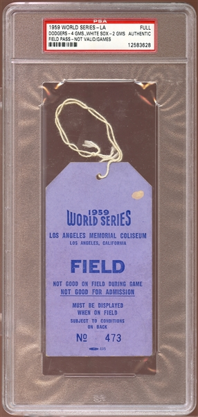 1959 World Series Los Angeles Field Pass PSA AUTHENTIC
