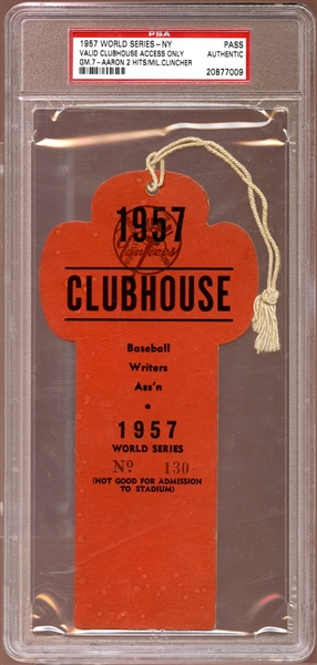 1957 World Series New York Clubhouse Press Pass PSA AUTHENTIC
